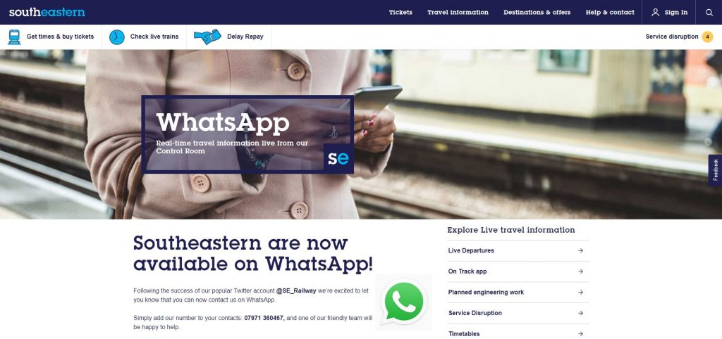 southestern railways whatsapp service