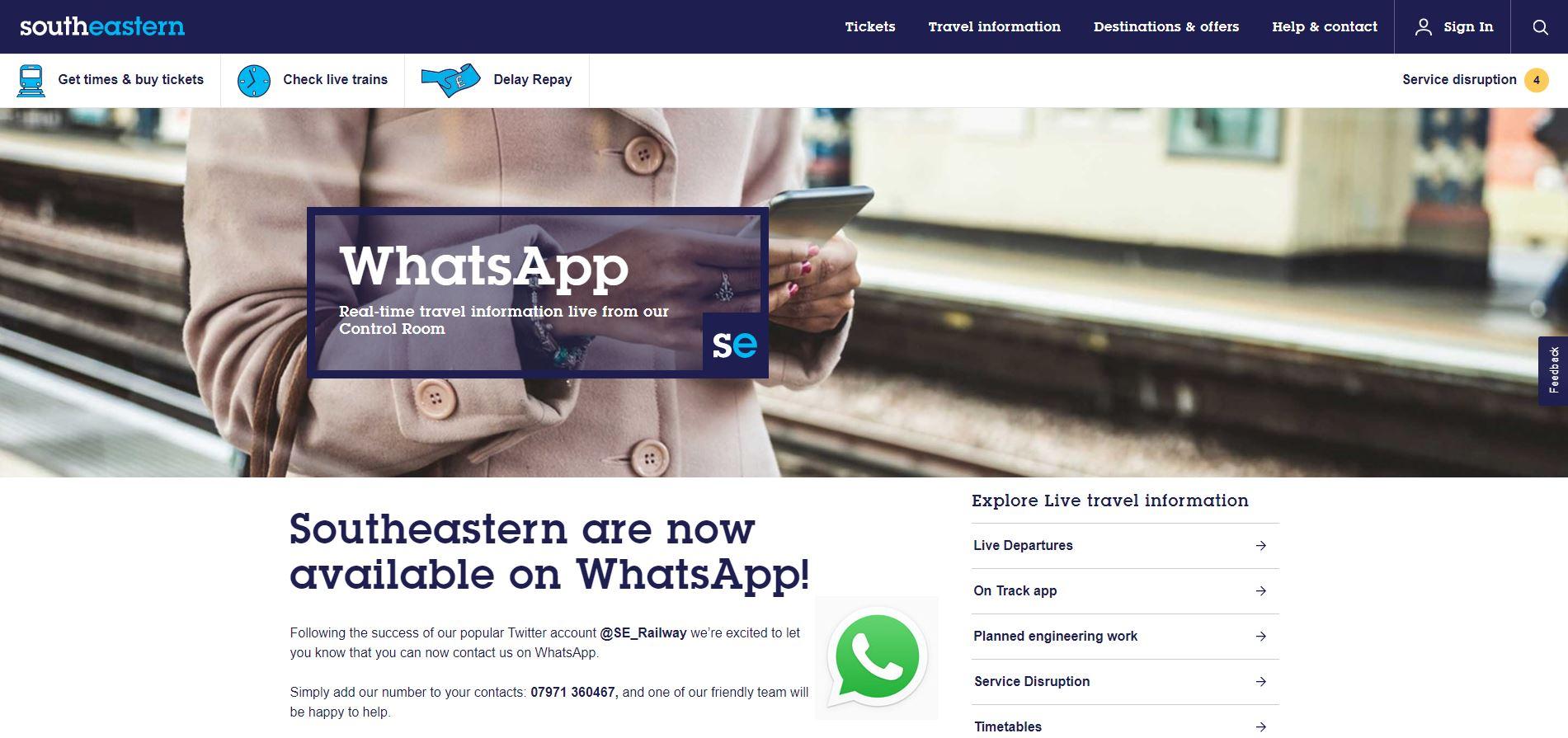 southestern railways whatsapp service