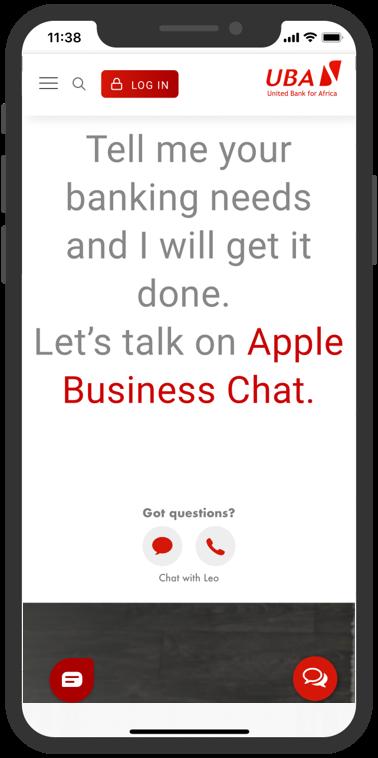 Lets talk on Apple Business Chat UBA