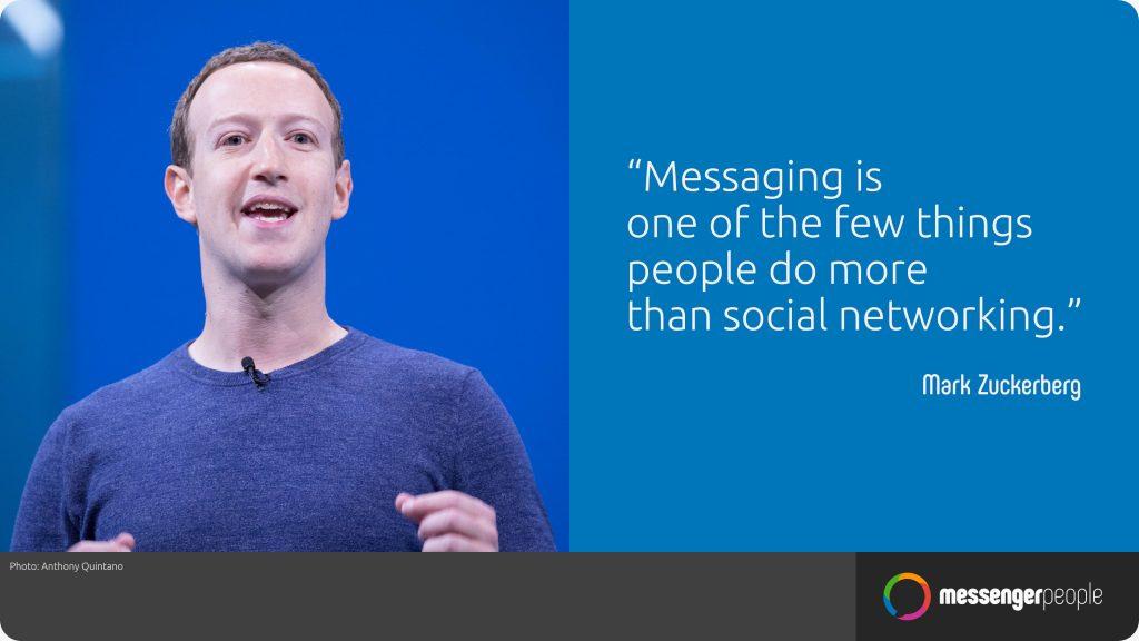 Mark Zuckerbergs Statement: Nachrichten schreiben ist etwas, was Menschen öfters tun als social networking.