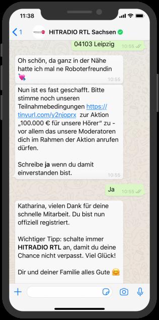 WhatsApp Screenshot Device, Hitradio RTL Sachsen