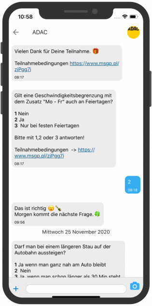 Telegram Screenshot device, ADAC Gewinnspiel