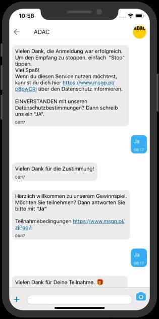 Telegram Screenshot device, ADAC Gewinnspiel Teilnahme