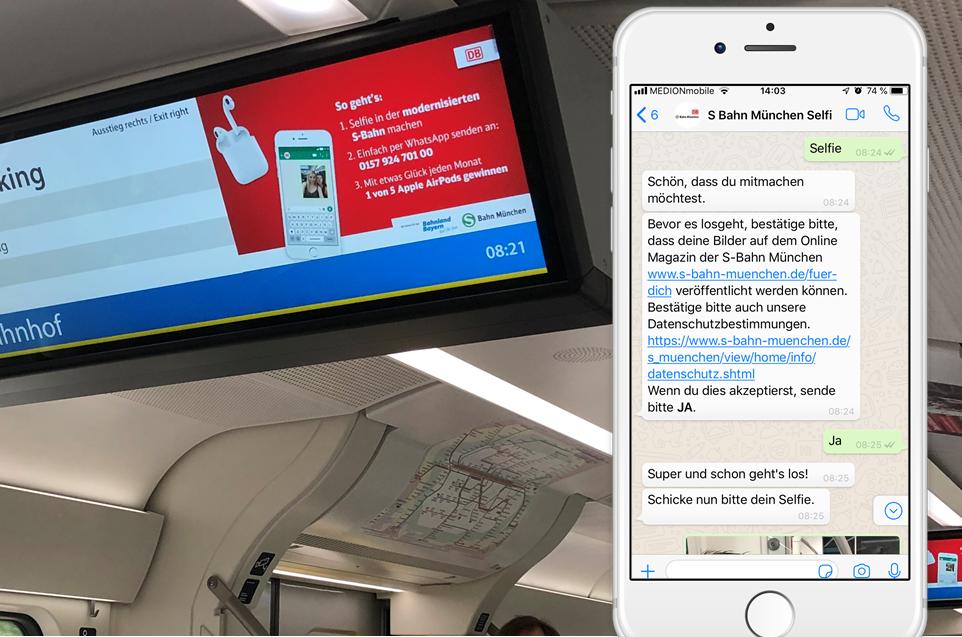 S Bahn Selfie WhatsApp Gewinnspiel Chatbot