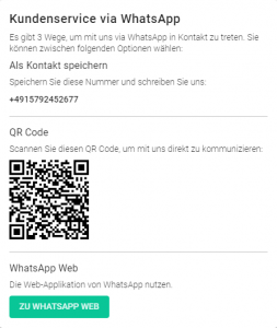 Kundenservice via WhatsApp