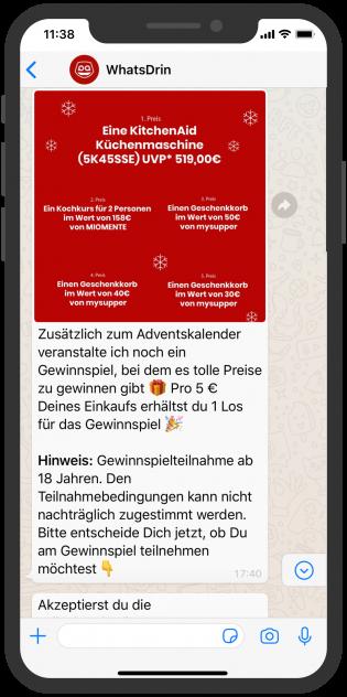 WhatsApp Adventskalender WhatsDrin Gewinnspiel Chatbot