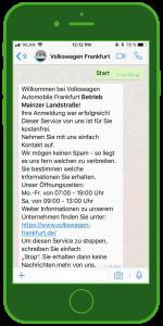 WhatsApp Kundenservice Volkswagen Automobile FFM