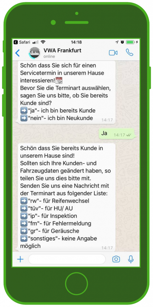 customer service chatbot volkswagen