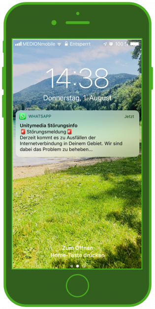 WhastApp Notificatin Alert update Störungsmelder