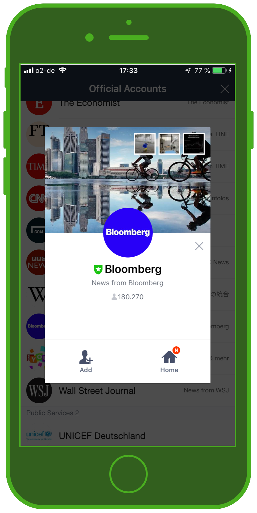 LINE Chat App Official Account Bloomberg