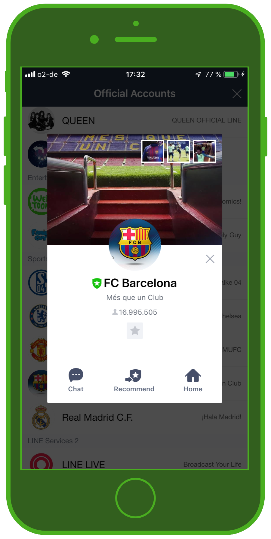 LINE Chat App Official Account FC Barcelona