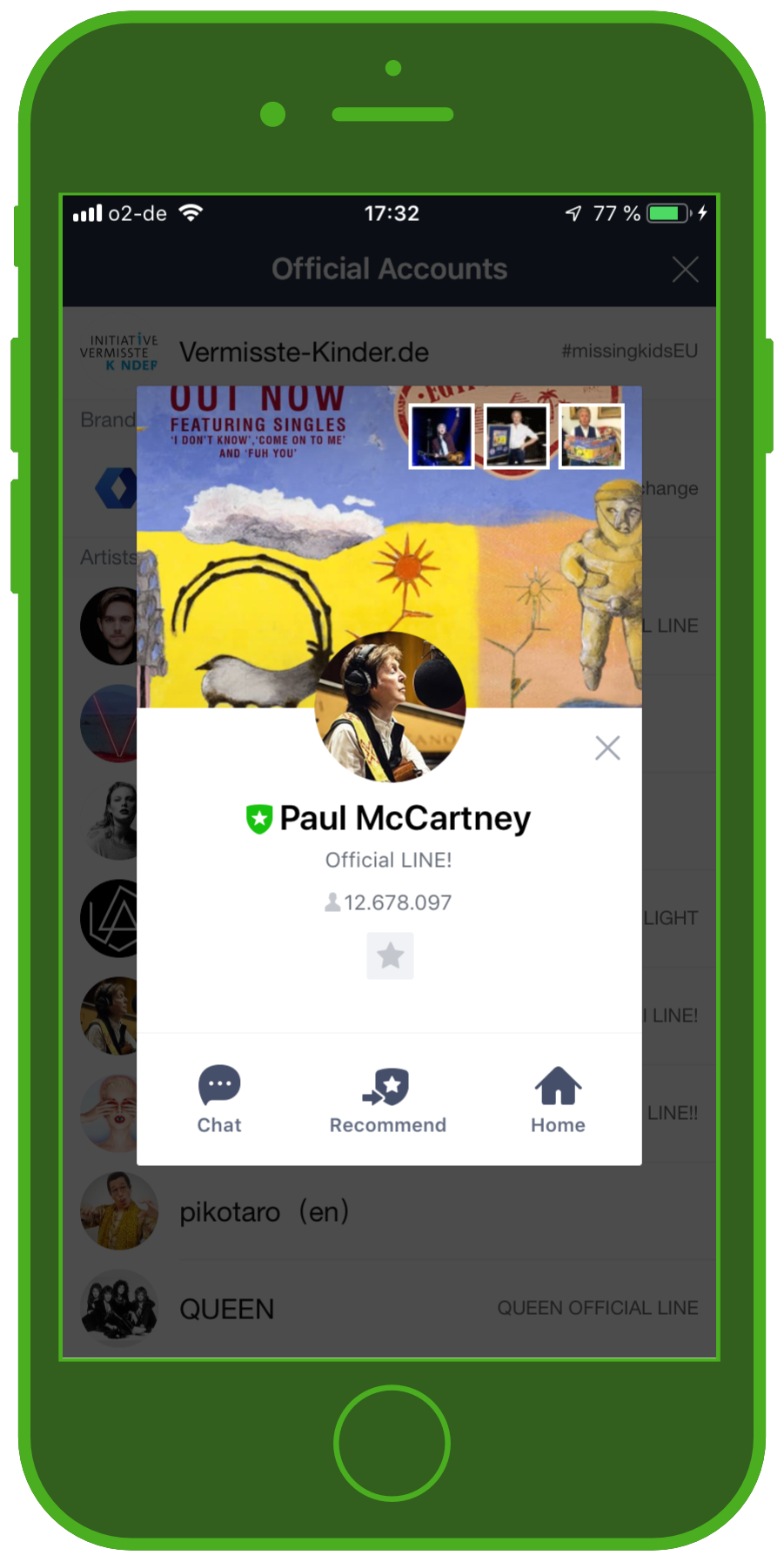 LINE Chat App Official Account Paul McCartney