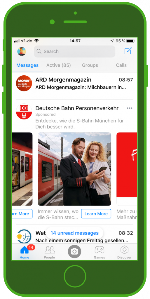 Messaging Apps & Brands Facebook Messenger Deutsche Bahn S-Bahn München Carousel Ad 3