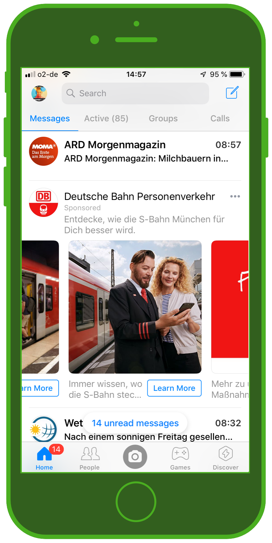 Messaging Apps & Brands Facebook Messenger Deutsche Bahn S-Bahn München Carousel Ad 3