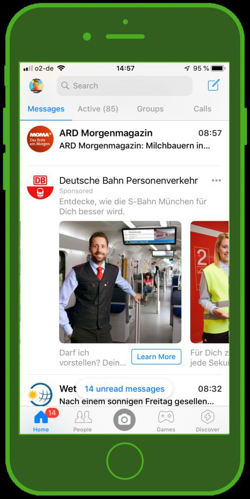 Messaging Apps & Brands Facebook Messenger Deutsche Bahn S-Bahn München Carousel Ad 1