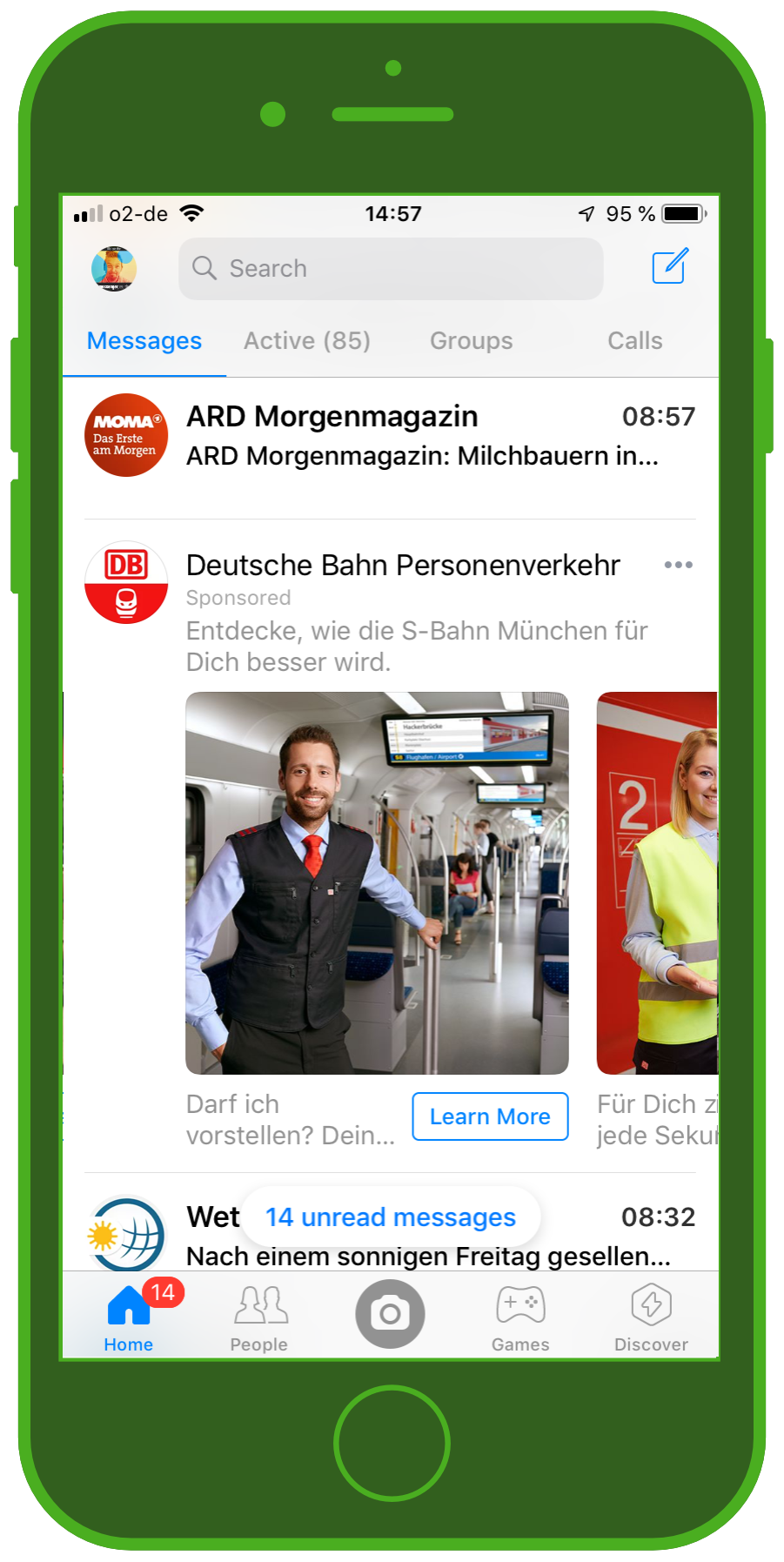 Messaging Apps & Brands Facebook Messenger Deutsche Bahn S-Bahn München Carousel Ad 1