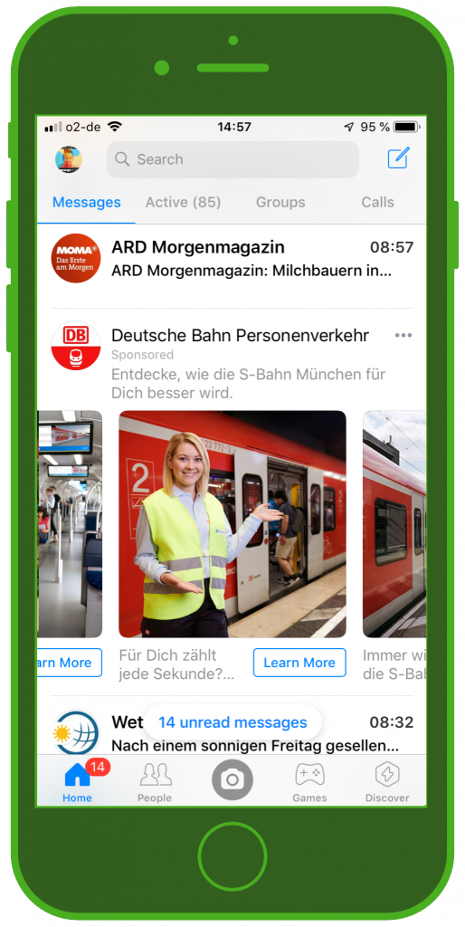 Messaging Apps & Brands Facebook Messenger Deutsche Bahn S-Bahn München Carousel Ad 2