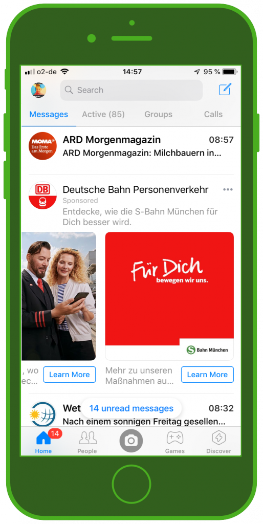Messaging Apps & Brands Facebook Messenger Deutsche Bahn S-Bahn München Carousel Ad 4