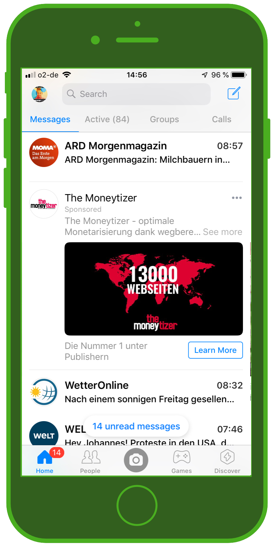 Messaging Apps & Brands Facebook Messenger Moneytizer Banner Ad