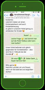 Verwöhnhotel Berghof Landingpage WhatsApp und Wintersport