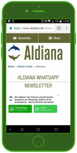 Aldiana WhatsApp Landingpage WhatsApp Tourismus