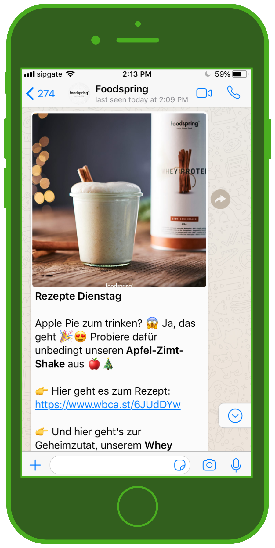 Foodspring WhatsApp Chat Rezept Apfel-Zimt Shake