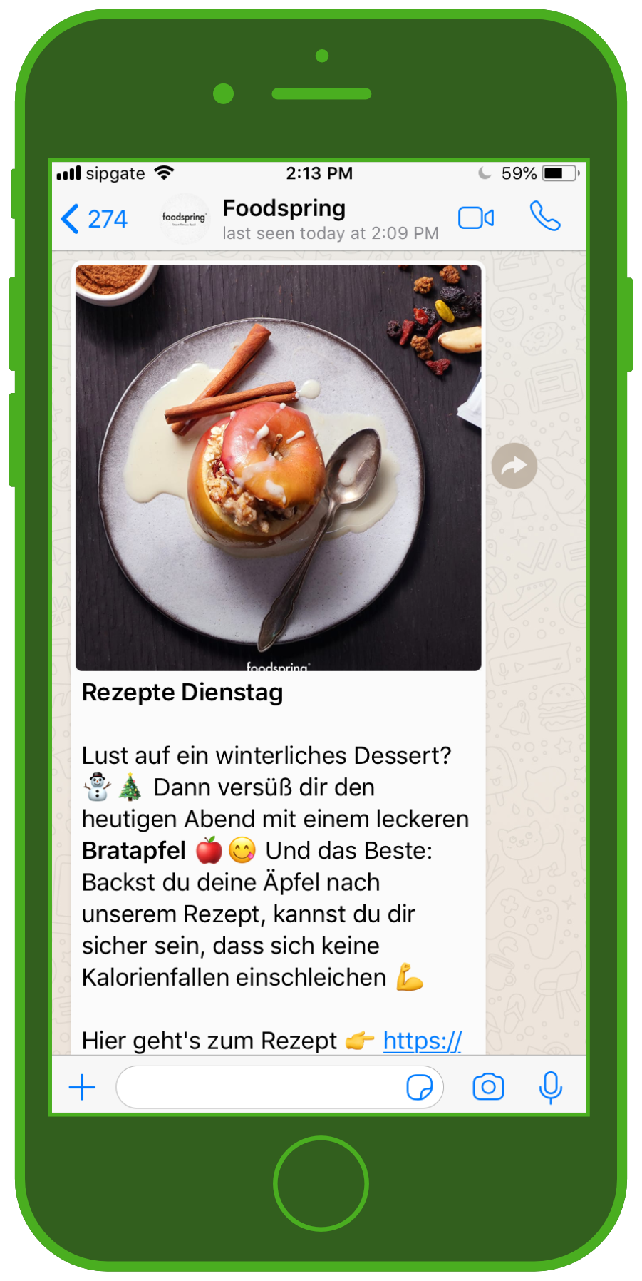 Foodspring WhatsApp winterliches Rezept