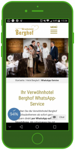 Verwöhnhotel Berghof Landingpage WhatsApp Tourismus