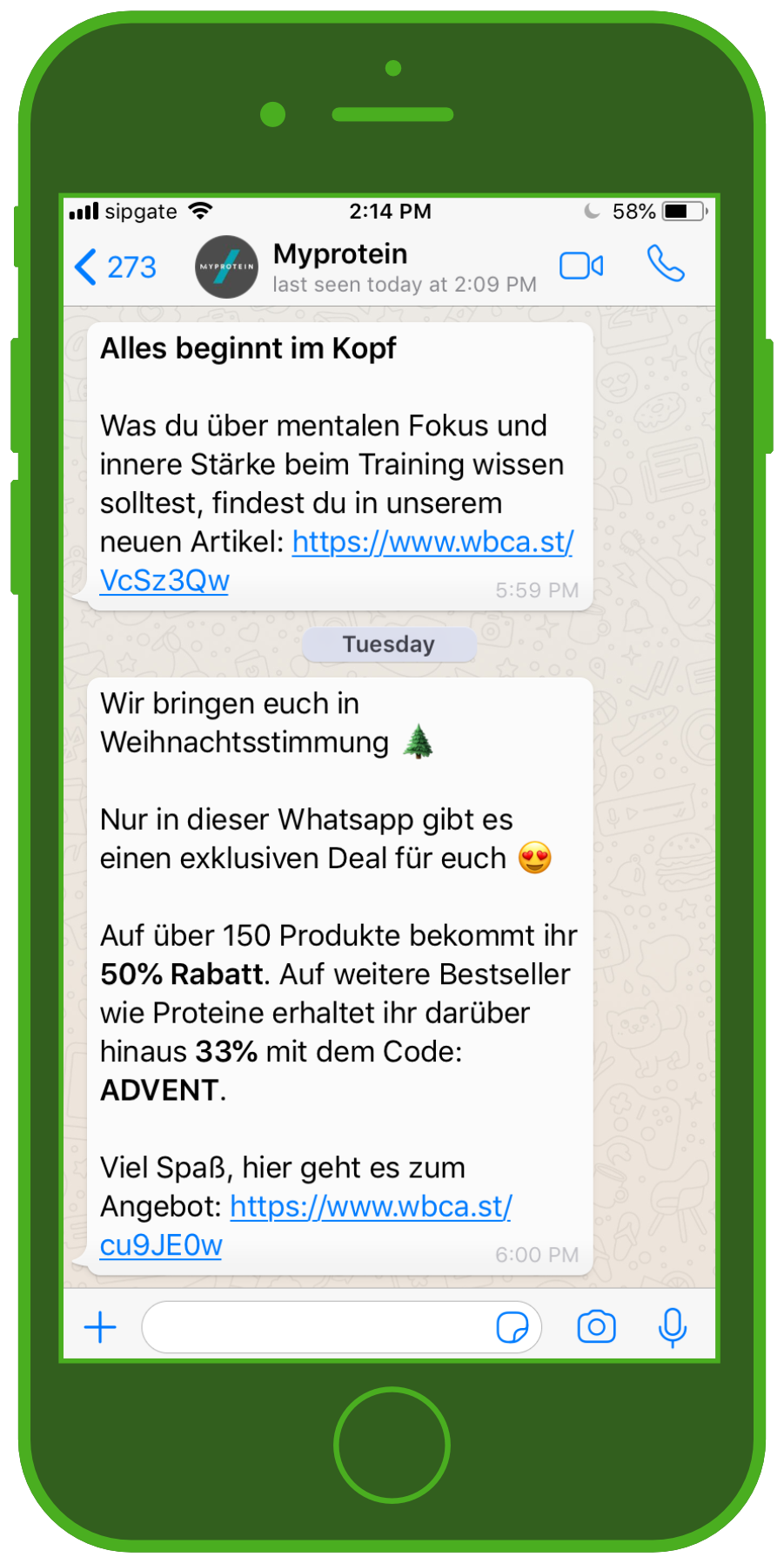 MyProtein WhatsApp Chat Weihnachts-Newsletter