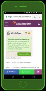 Urlaubspiraten Anmeldung Widget WhatsApp Tourismus