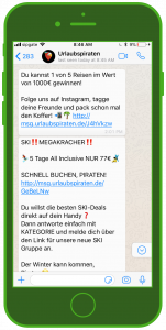 Urlaubspiraten WhatsApp Newsletter Tourismus WhatsApp