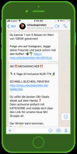 Urlaubspiraten WhatsApp Newsletter Tourismus WhatsApp