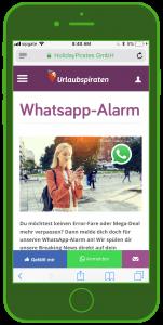 Urlaubspiraten WhatsApp Alarm Landingpage Tourismus WhatsApp