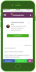 Urlaubspiraten WhatsApp Alarm Widget Tourismus WhatsApp