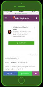 Urlaubspiraten WhatsApp Alarm Widget Tourismus WhatsApp