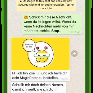 dm chatbot zoe kundenservice und whatsapp 1