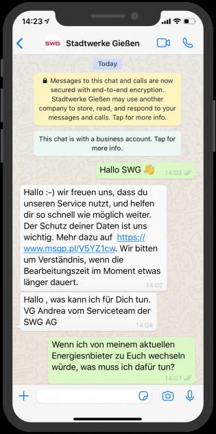 Stadtwerke Gießen Chatberatung