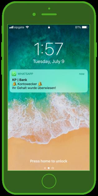 Banken-Messenger-Kundenservice-WhatsApp_Notification-Finanz-Update-Sperrbildschirm