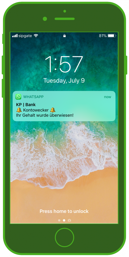 Banken-Messenger-Kundenservice-WhatsApp_Notification-Finanz-Update-Sperrbildschirm