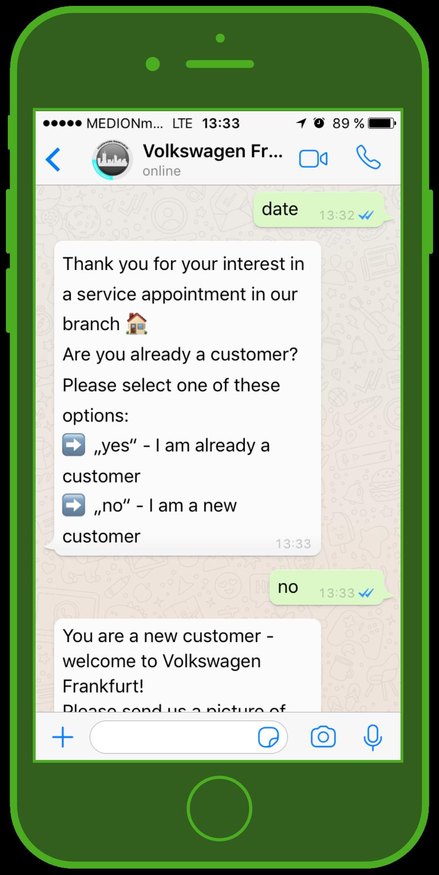 Primo messaggio per scrivere appuntamenti online