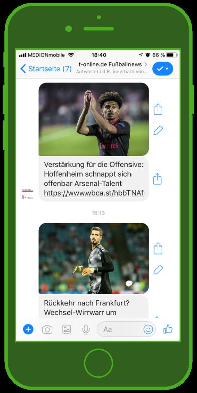 Facebook Messenger Newsletter Screenshot