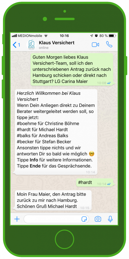 Klaus versichert WhatsApp Service
