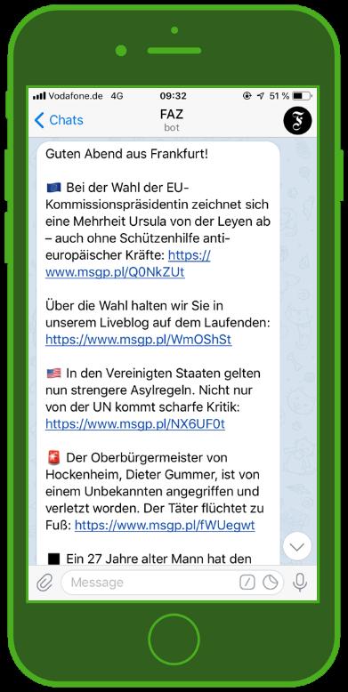 Telegram Screenshot für Newsletter