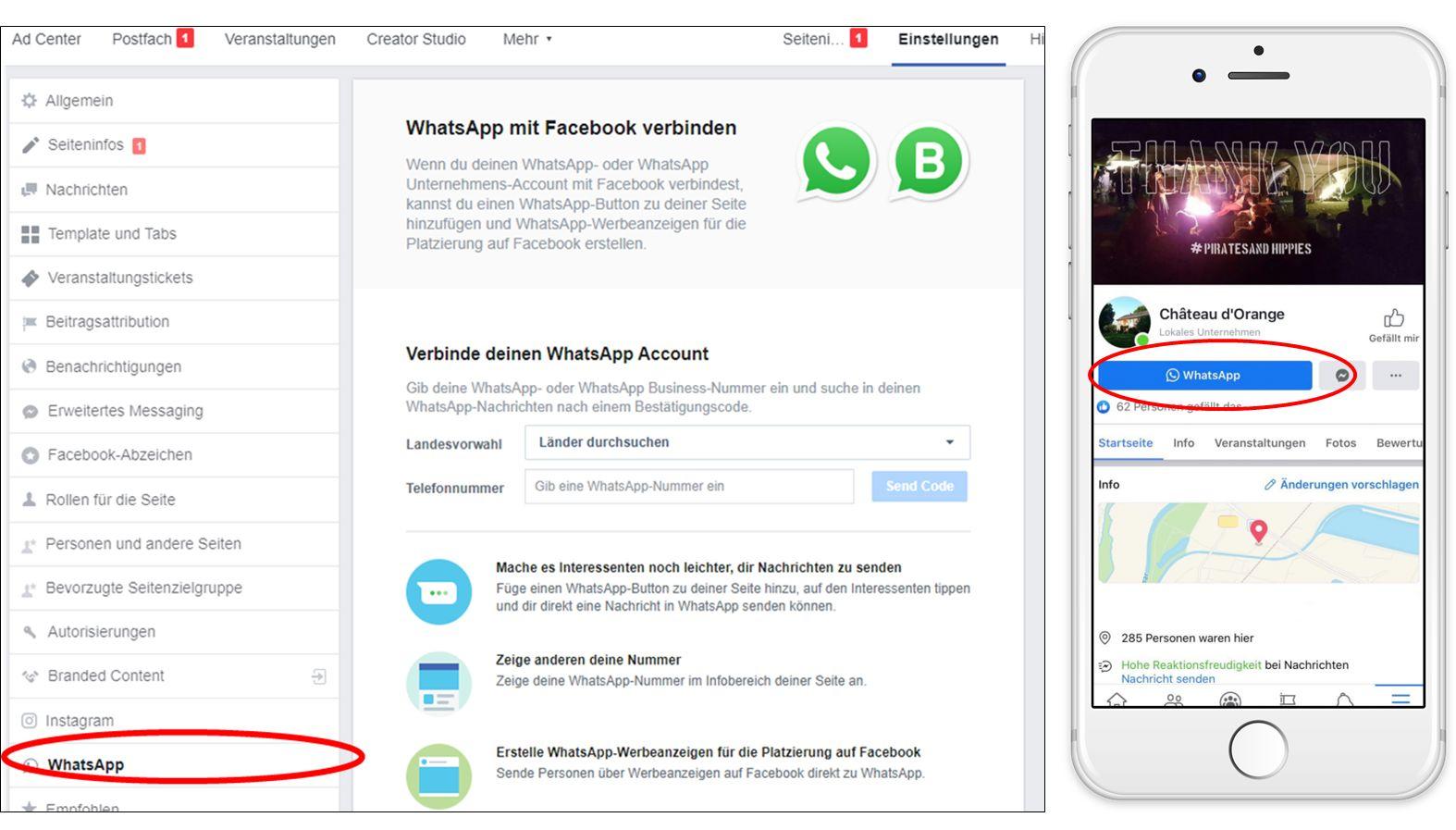 WhatsApp mit Facebook-Seite verknüpfen