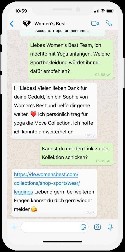 WhatsApp Kundenservice im E Commerce Womans Best