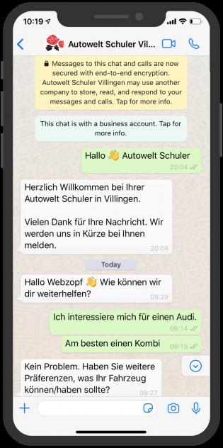 Autowelt schuler Whatsapp Beratung