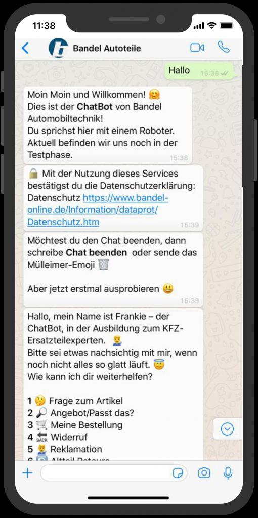 Die besten Chatbots 2019 Bandel Chatbot WhatsApp Kundenservice