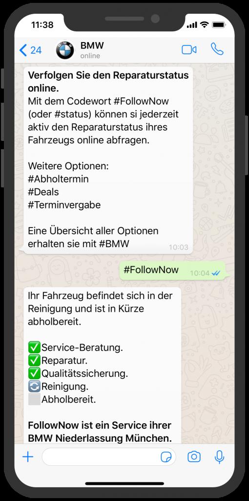 Die besten Chatbots 2019 BMW WhatsApp Kundenservice