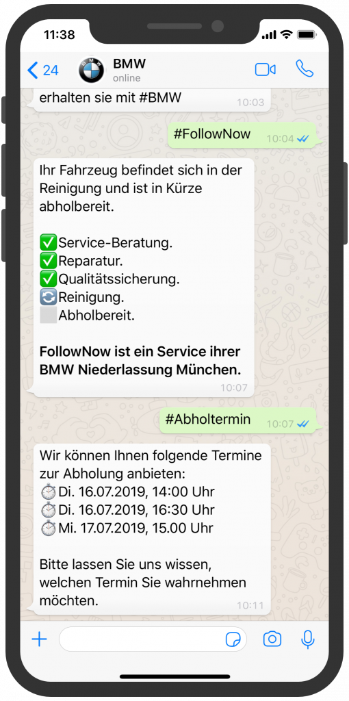 Chatbots-Kundenservice-Die besten Chatbots 2019 BMW WhatsApp Kundenservice