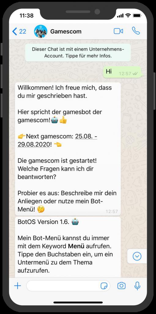 Die besten Chatbots 2019 Gamescom Chatbot WhatsApp
